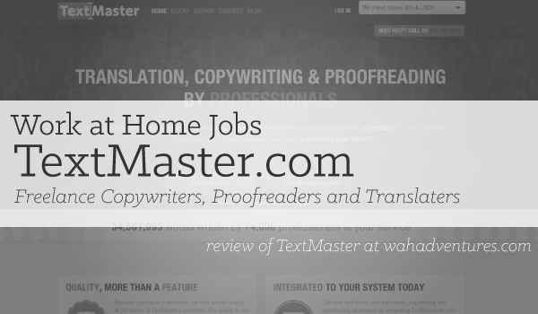 Review of Work at Home Jobs with TextMaster